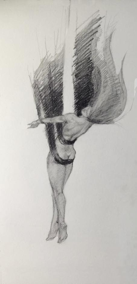 Aerial, figure sketch in Graphite
