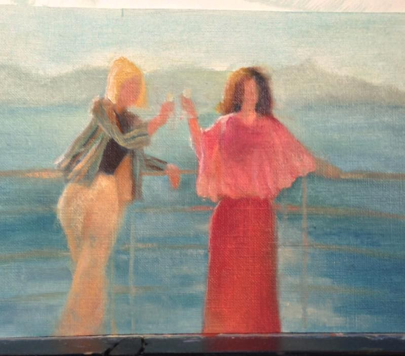 Color Study of Ladies on a boat