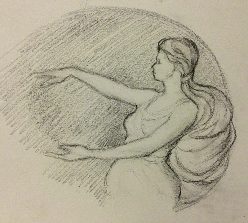 Circles, Graphite Drawing of a female figure