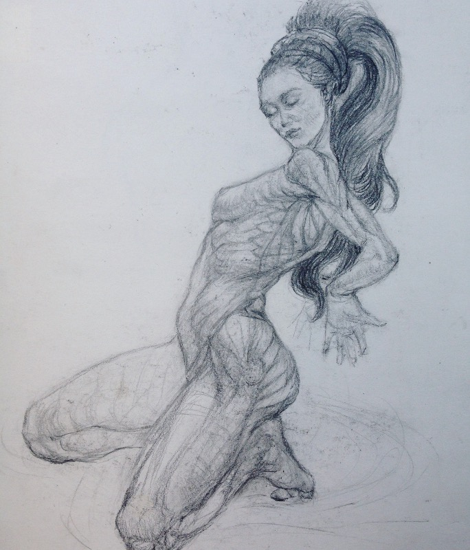 Anatomy study of Female Nude in Graphite