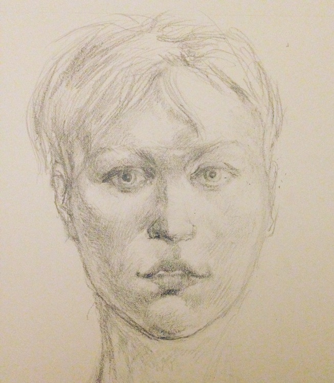 Flooded with Light Graphite drawing of a woman's head