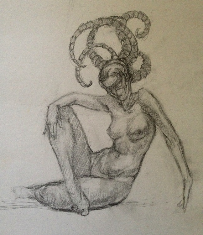 Masked Woman, nude graphite drawing