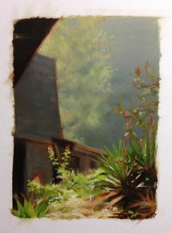 Plein Air oil painting, Plants in sunlight traditional media artwork by Ifat Glassman
