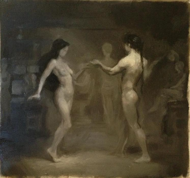 Figurative Art, Oil painting of a man and a woman