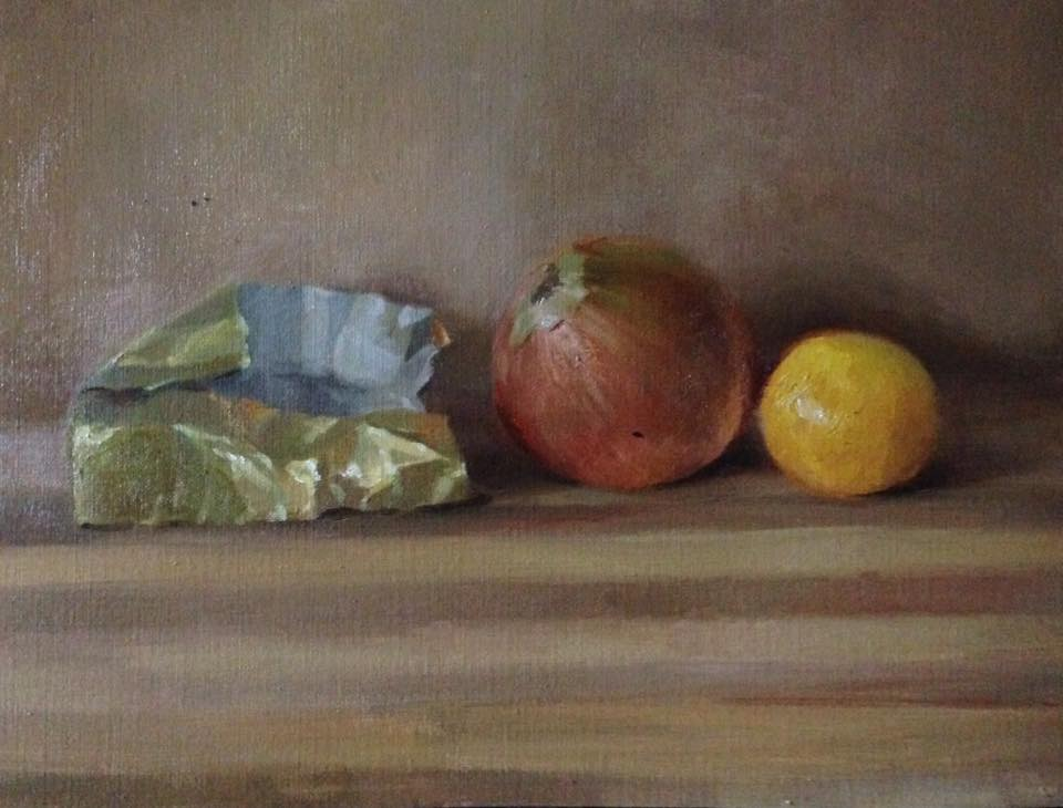 Yellow Objects still life oil painting color study